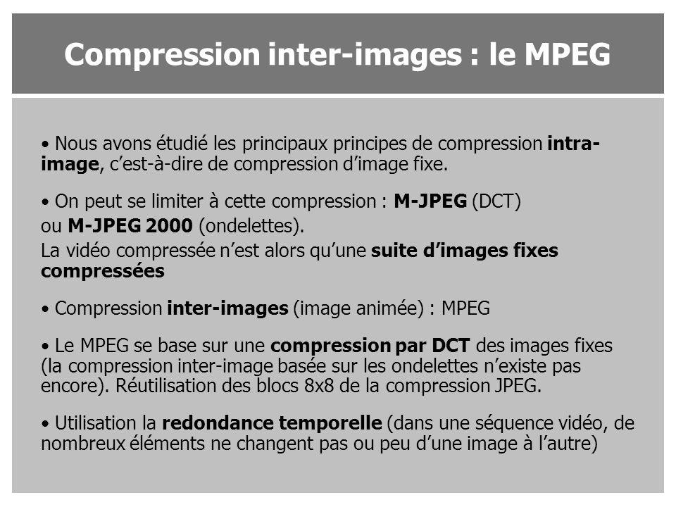 Nous avons étudié les principaux principes de compression intra- image, c'est-à-dire de compression d'image fixe. On peut se limiter à cette compressi