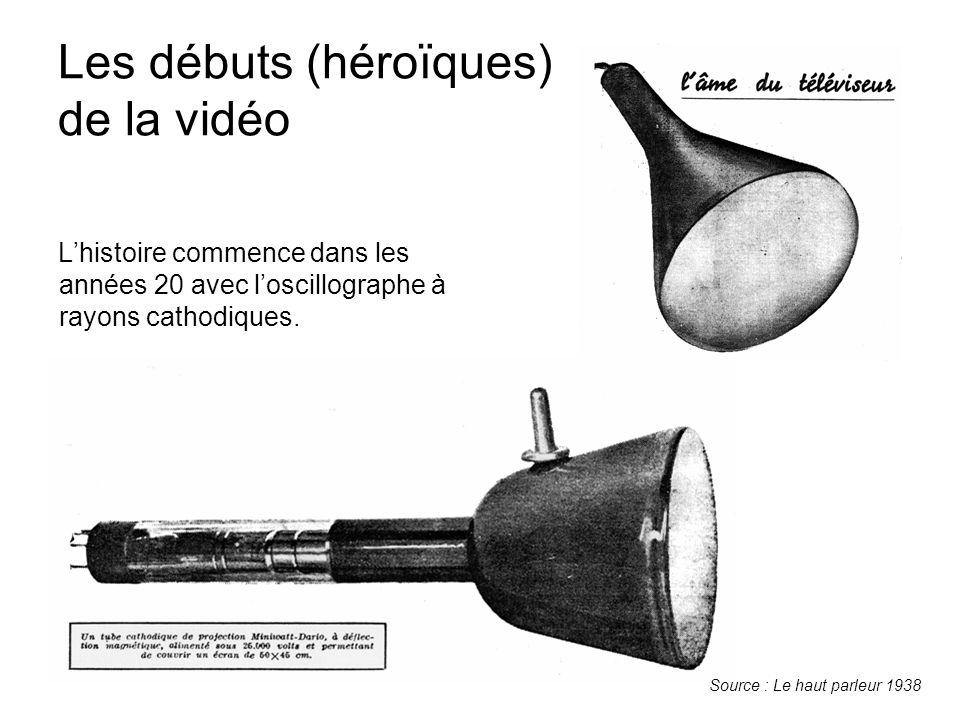 Les débuts (héroïques) de la vidéo L'histoire commence dans les années 20 avec l'oscillographe à rayons cathodiques. Source : Le haut parleur 1938