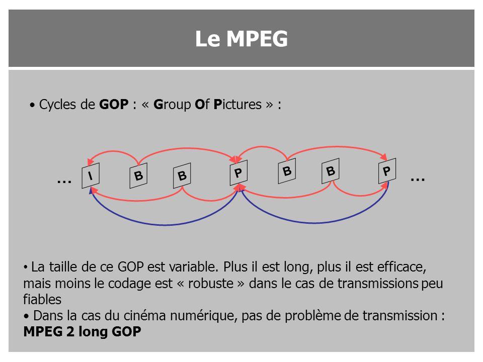 Cycles de GOP : « Group Of Pictures » : IB P B BPB … … La taille de ce GOP est variable. Plus il est long, plus il est efficace, mais moins le codage