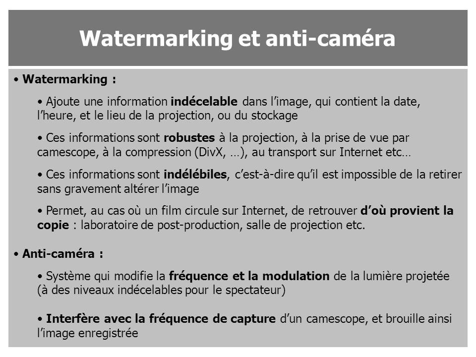 Watermarking : Ajoute une information indécelable dans l'image, qui contient la date, l'heure, et le lieu de la projection, ou du stockage Ces informa