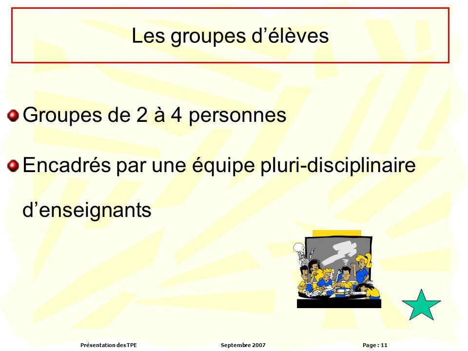 Présentation des TPESeptembre 2007 Page : 11 Les groupes d'élèves Groupes de 2 à 4 personnes Encadrés par une équipe pluri-disciplinaire d'enseignants