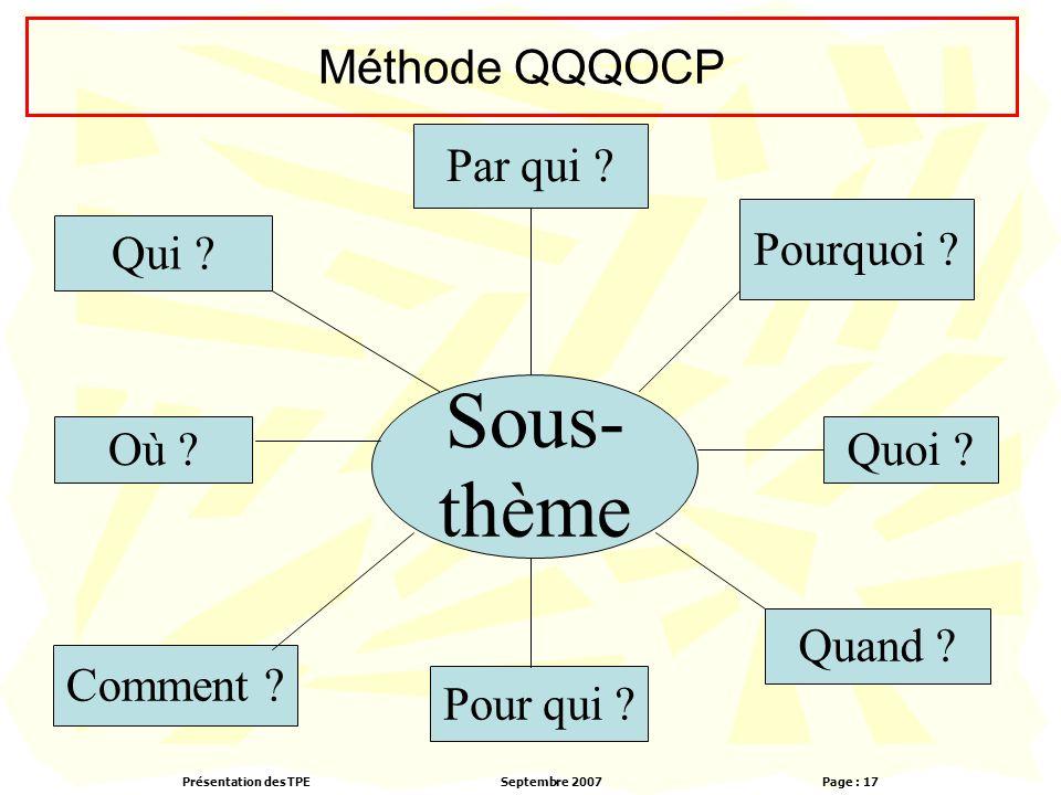 Présentation des TPESeptembre 2007 Page : 17 Méthode QQQOCP Sous- thème Comment .