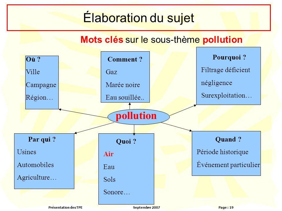 Présentation des TPESeptembre 2007 Page : 19 Élaboration du sujet Mots clés sur le sous-thème pollution pollution Où ? Ville Campagne Région… Comment