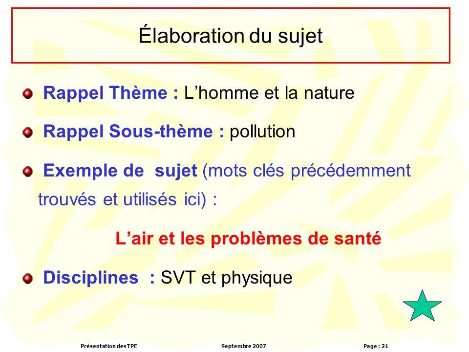 Présentation des TPESeptembre 2007 Page : 21 Élaboration du sujet Rappel Thème : L'homme et la nature Rappel Sous-thème : pollution Exemple de sujet (