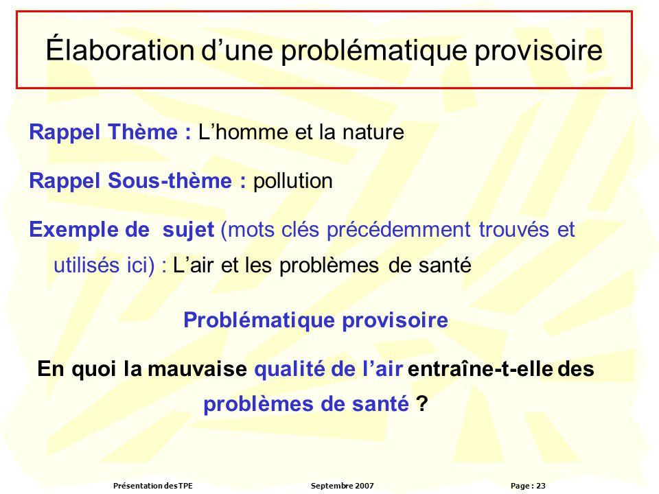 Présentation des TPESeptembre 2007 Page : 23 Élaboration d'une problématique provisoire Rappel Thème : L'homme et la nature Rappel Sous-thème : pollut