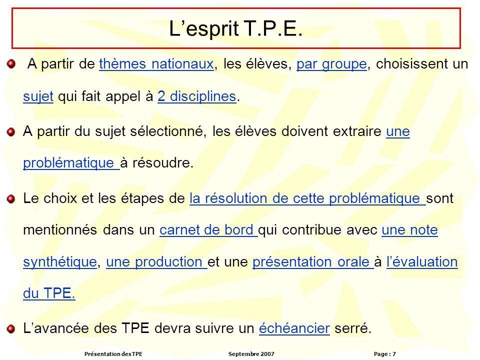 Présentation des TPESeptembre 2007 Page : 7 L'esprit T.P.E. A partir de thèmes nationaux, les élèves, par groupe, choisissent un sujet qui fait appel