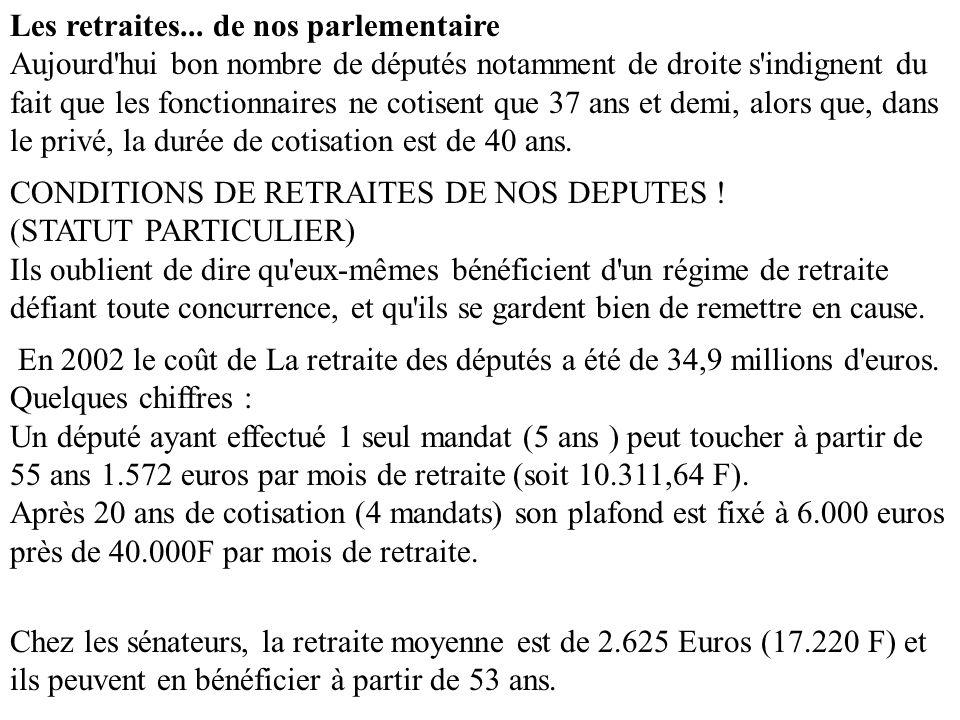 Les retraites... de nos parlementaire Aujourd'hui bon nombre de députés notamment de droite s'indignent du fait que les fonctionnaires ne cotisent que