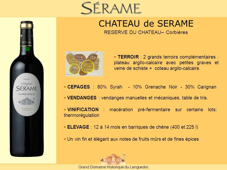  CEPAGES : 60% Syrah - 10% Grenache Noir - 30% Carignan  VENDANGES : vendanges manuelles et mécaniques, table de tris.