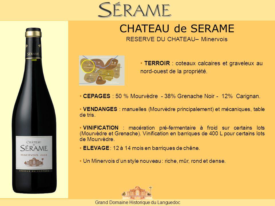 Grand Domaine Historique du Languedoc CEPAGES : 50 % Mourvèdre - 38% Grenache Noir - 12% Carignan.