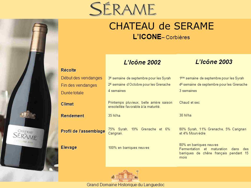 Grand Domaine Historique du Languedoc L'Icône 2002 L'Icône 2003 Récolte Début des vendanges Fin des vendanges Durée totale Rendement 35 hl/ha 30 hl/ha Profil de l'assemblage 80% Syrah, 11% Grenache, 5% Carignan et 4% Mourvèdre 75% Syrah, 19% Grenache et 6% Carignan.