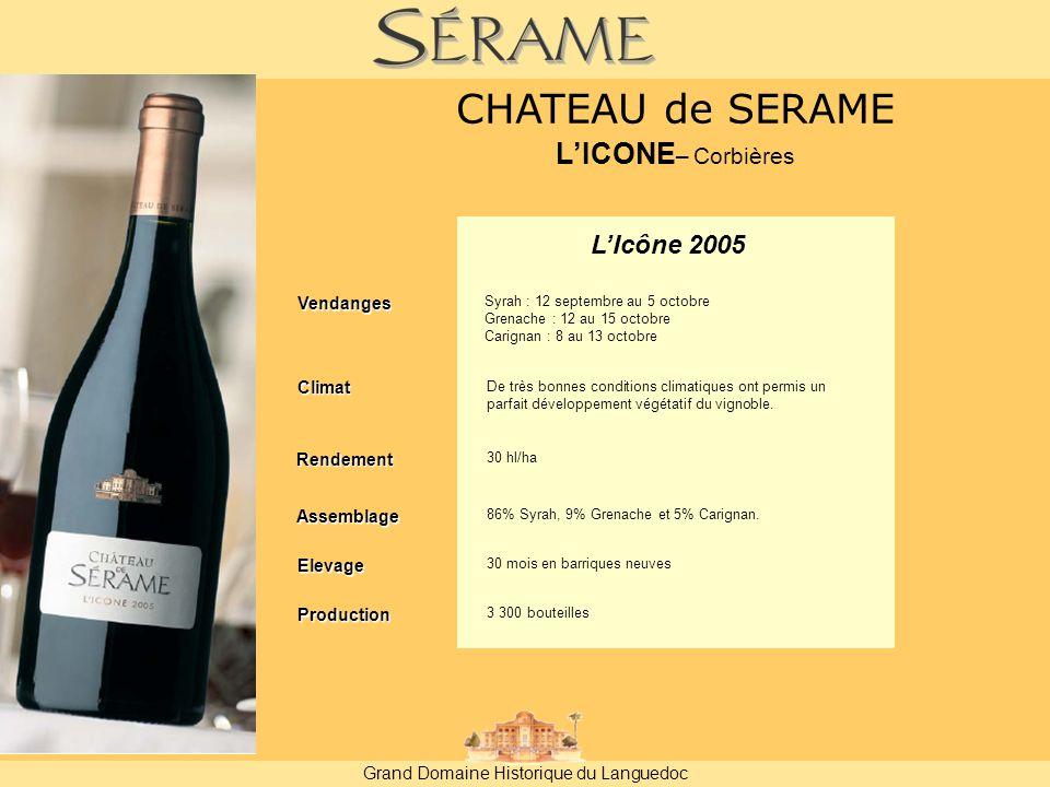Grand Domaine Historique du Languedoc L'Icône 2005 Vendanges Rendement 30 hl/ha Assemblage 86% Syrah, 9% Grenache et 5% Carignan.