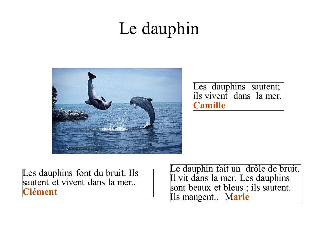 Le dauphin Les dauphins sautent; ils vivent dans la mer. Camille Les dauphins font du bruit. Ils sautent et vivent dans la mer.. Clément Le dauphin fa