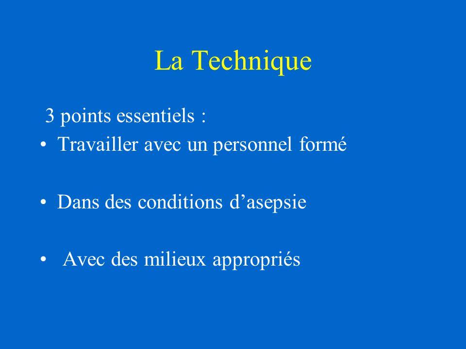 La Technique 3 points essentiels : Travailler avec un personnel formé Dans des conditions d'asepsie Avec des milieux appropriés