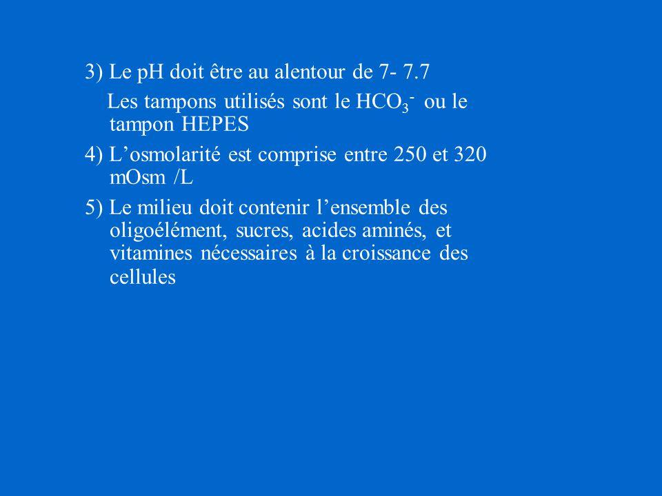 3) Le pH doit être au alentour de 7- 7.7 Les tampons utilisés sont le HCO 3 - ou le tampon HEPES 4) L'osmolarité est comprise entre 250 et 320 mOsm /L 5) Le milieu doit contenir l'ensemble des oligoélément, sucres, acides aminés, et vitamines nécessaires à la croissance des cellules