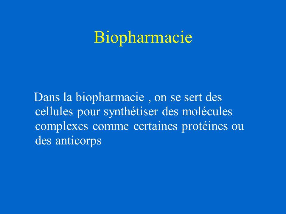 Biopharmacie Dans la biopharmacie, on se sert des cellules pour synthétiser des molécules complexes comme certaines protéines ou des anticorps