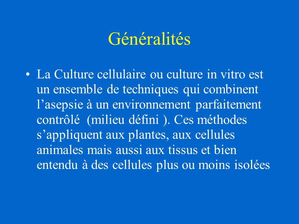 Généralités La Culture cellulaire ou culture in vitro est un ensemble de techniques qui combinent l'asepsie à un environnement parfaitement contrôlé (milieu défini ).