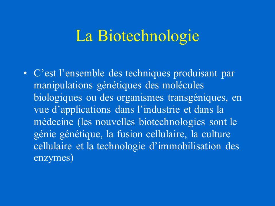 La Biotechnologie C'est l'ensemble des techniques produisant par manipulations génétiques des molécules biologiques ou des organismes transgéniques, en vue d'applications dans l'industrie et dans la médecine (les nouvelles biotechnologies sont le génie génétique, la fusion cellulaire, la culture cellulaire et la technologie d'immobilisation des enzymes)