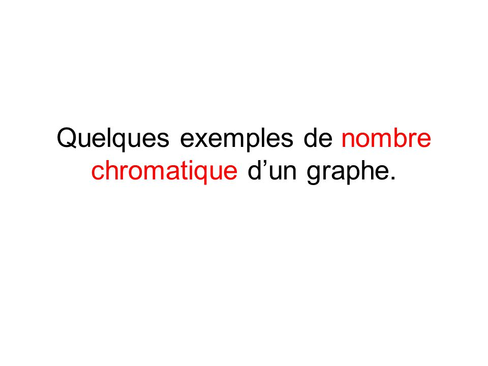 Le nombre chromatique d'un graphe : c'est le nombre minimal de couleurs qu'il faut pour colorier le graphe afin que deux sommets adjacents ne soient jamais de la même couleur a b c f d e g