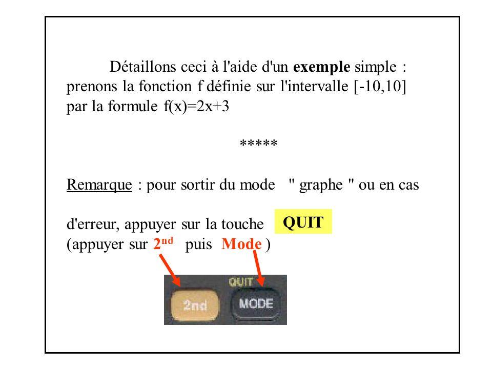 Détaillons ceci à l aide d un exemple simple : prenons la fonction f définie sur l intervalle [-10,10] par la formule f(x)=2x+3 ***** Remarque : pour sortir du mode graphe ou en cas d erreur, appuyer sur la touche (appuyer sur 2 nd puis Mode ) QUIT