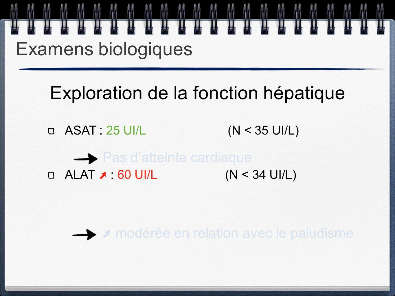 ASAT : 25 UI/L (N < 35 UI/L) ALAT ➚ : 60 UI/L (N < 34 UI/L) Exploration de la fonction hépatique Pas d'atteinte cardiaque ➚ modérée en relation avec l