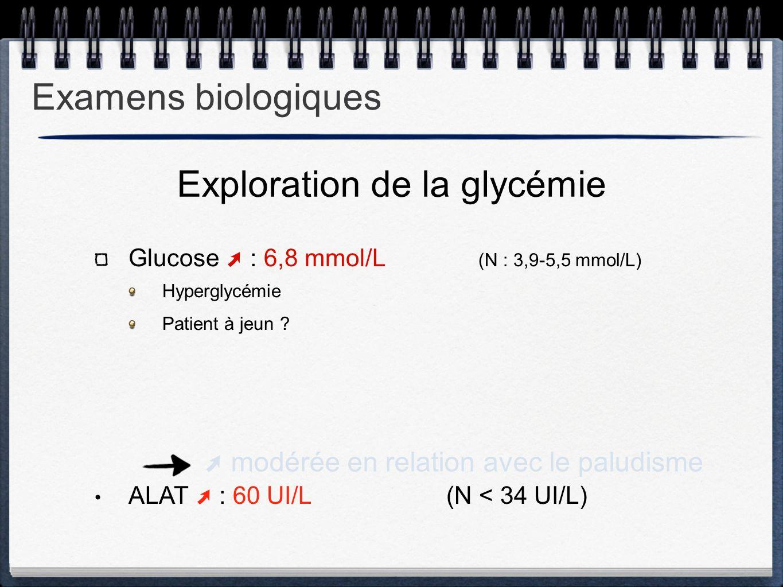 Glucose ➚ : 6,8 mmol/L (N : 3,9-5,5 mmol/L) Hyperglycémie Patient à jeun ? ALAT ➚ : 60 UI/L (N < 34 UI/L) Exploration de la glycémie ➚ modérée en rela