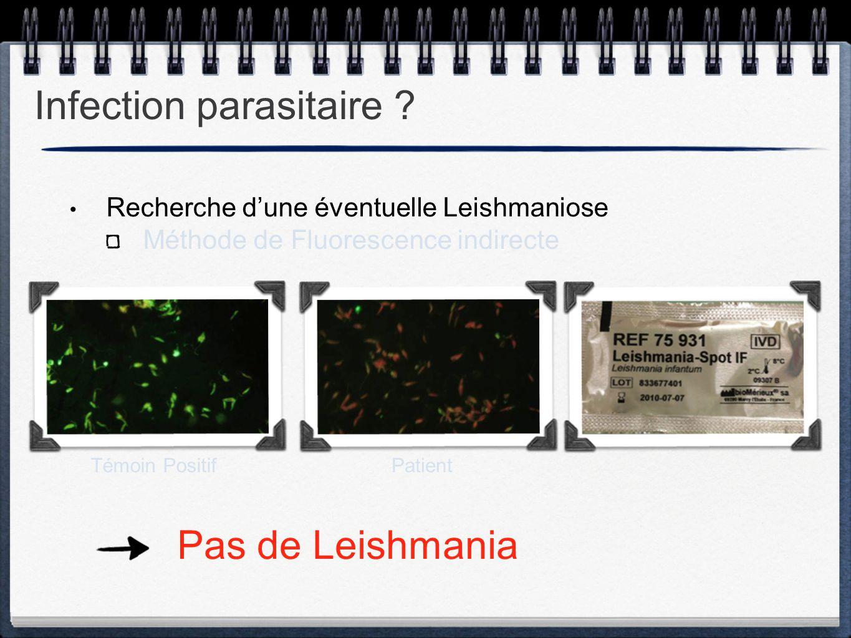 Recherche d'une éventuelle Leishmaniose Méthode de Fluorescence indirecte Infection parasitaire ? Pas de Leishmania Témoin PositifPatient