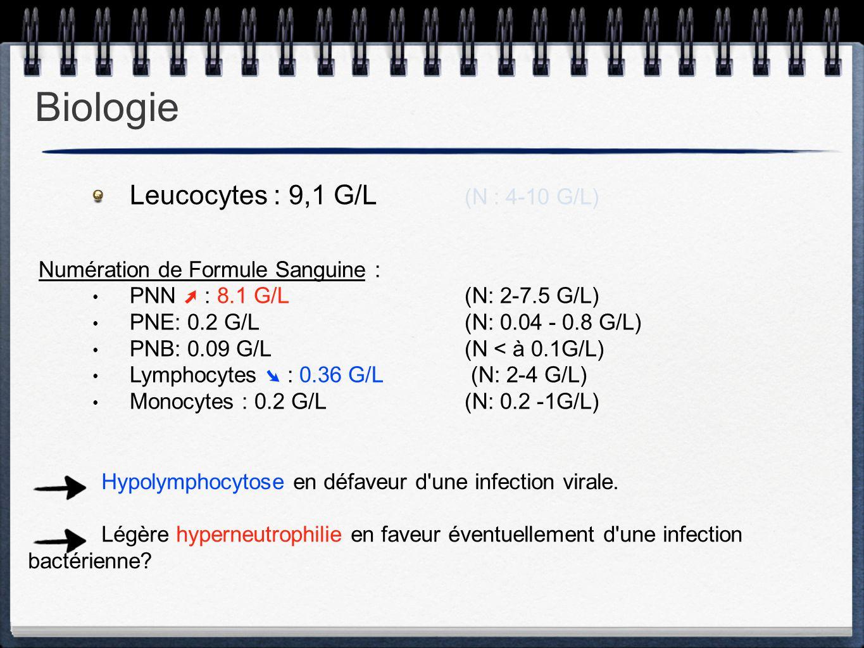 Leucocytes : 9,1 G/L (N : 4-10 G/L) Numération de Formule Sanguine : PNN ➚ : 8.1 G/L(N: 2-7.5 G/L) PNE: 0.2 G/L(N: 0.04 - 0.8 G/L) PNB: 0.09 G/L(N < à