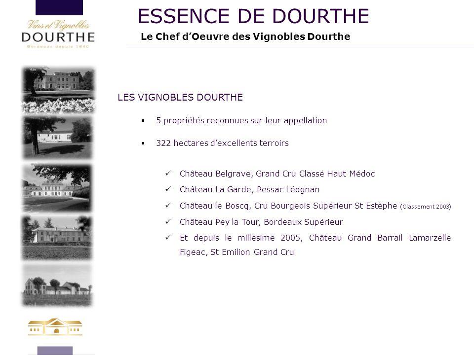 LES VIGNOBLES DOURTHE  5 propriétés reconnues sur leur appellation  322 hectares d'excellents terroirs Château Belgrave, Grand Cru Classé Haut Médoc