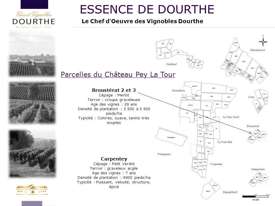 Le Chef d'Oeuvre des Vignobles Dourthe ESSENCE DE DOURTHE Broustérat 2 et 3 Cépage : Merlot Terroir : croupe graveleuse Age des vignes : 29 ans Densit