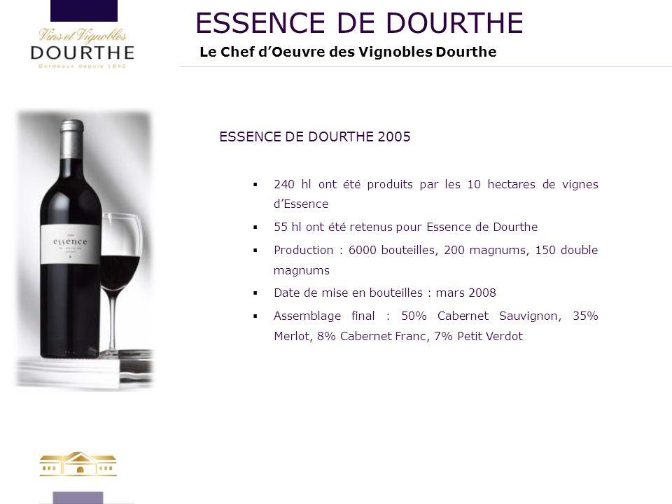 Le Chef d'Oeuvre des Vignobles Dourthe ESSENCE DE DOURTHE ESSENCE DE DOURTHE 2005  240 hl ont été produits par les 10 hectares de vignes d'Essence 