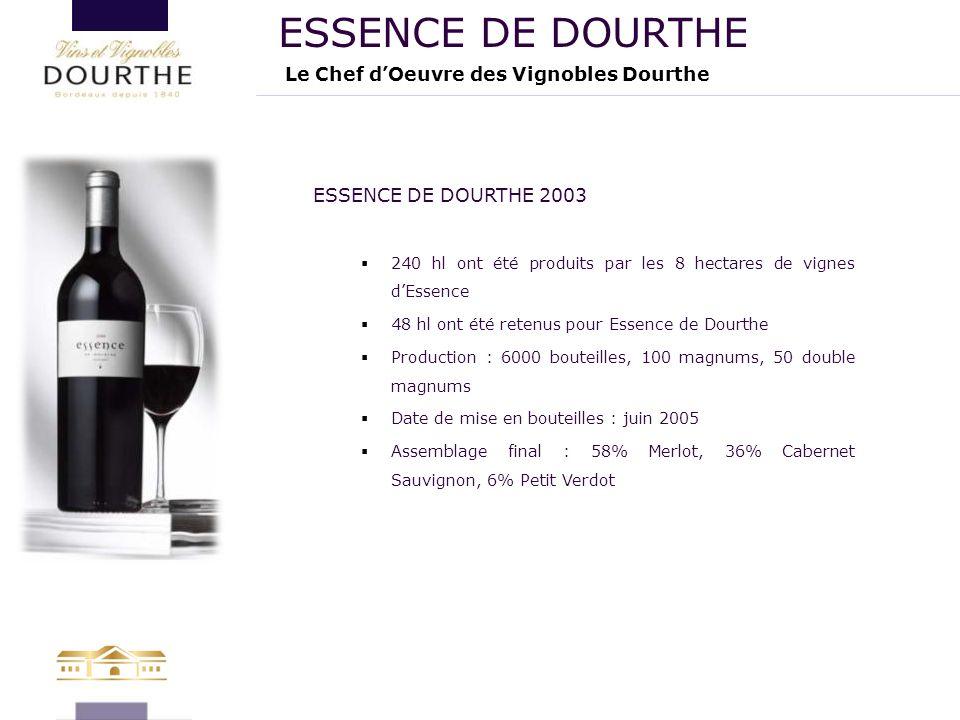 Le Chef d'Oeuvre des Vignobles Dourthe ESSENCE DE DOURTHE ESSENCE DE DOURTHE 2003  240 hl ont été produits par les 8 hectares de vignes d'Essence  4