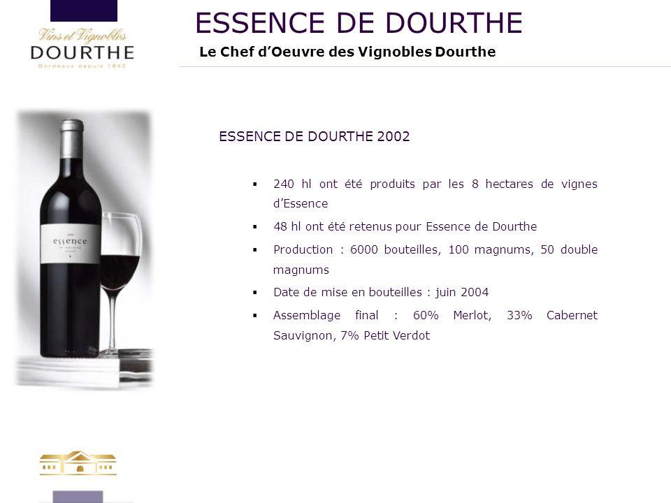 Le Chef d'Oeuvre des Vignobles Dourthe ESSENCE DE DOURTHE ESSENCE DE DOURTHE 2002  240 hl ont été produits par les 8 hectares de vignes d'Essence  4