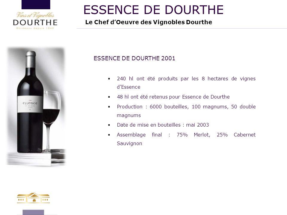 Le Chef d'Oeuvre des Vignobles Dourthe ESSENCE DE DOURTHE ESSENCE DE DOURTHE 2001  240 hl ont été produits par les 8 hectares de vignes d'Essence  4