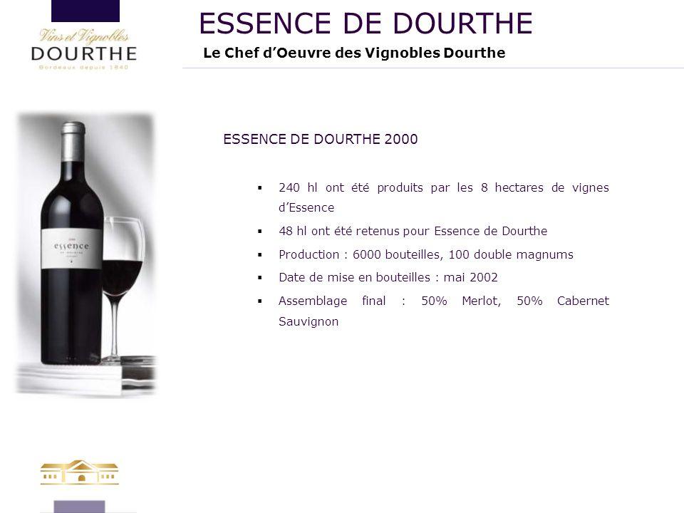 Le Chef d'Oeuvre des Vignobles Dourthe ESSENCE DE DOURTHE ESSENCE DE DOURTHE 2000  240 hl ont été produits par les 8 hectares de vignes d'Essence  4