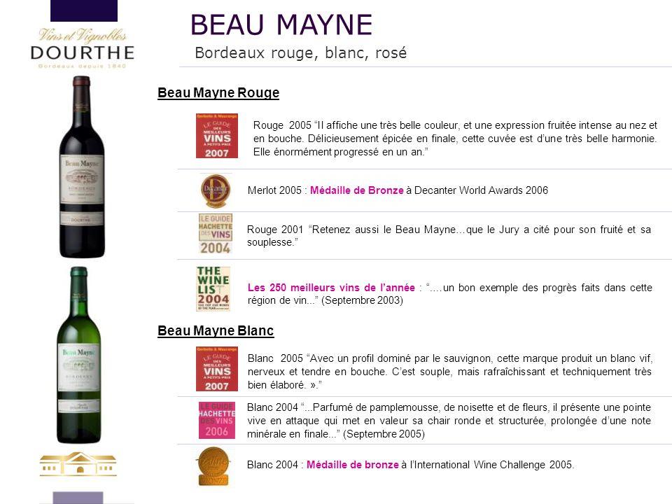 """Beau Mayne Rouge Les 250 meilleurs vins de l'année : """".…un bon exemple des progrès faits dans cette région de vin..."""" (Septembre 2003) Beau Mayne Blan"""