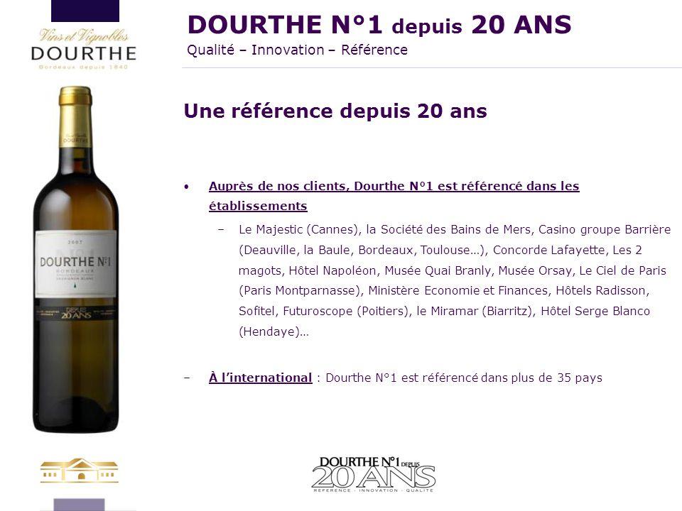 Une référence depuis 20 ans Auprès de nos clients, Dourthe N°1 est référencé dans les établissements –Le Majestic (Cannes), la Société des Bains de Me