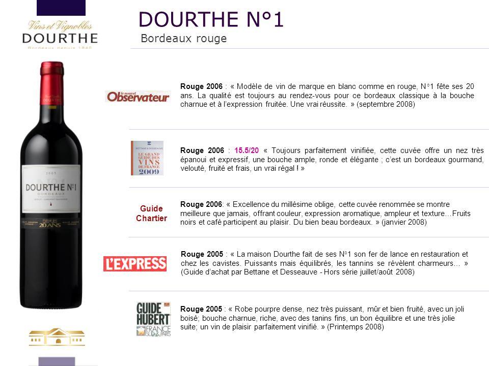 Bordeaux rouge DOURTHE N°1 Rouge 2005 : « Robe pourpre dense, nez très puissant, mûr et bien fruité, avec un joli boisé; bouche charnue, riche, avec d