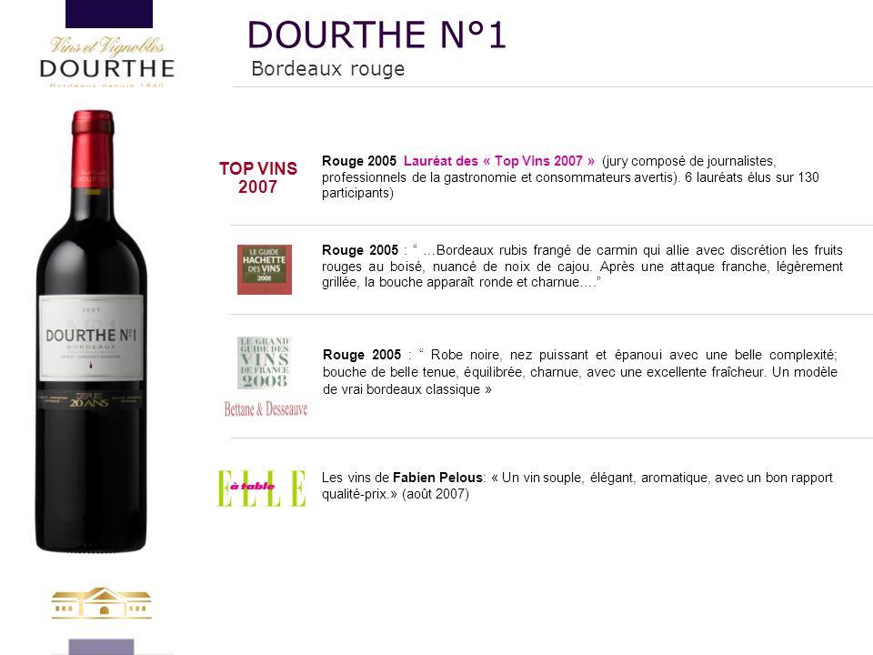 """Rouge 2005 : """" …Bordeaux rubis frangé de carmin qui allie avec discrétion les fruits rouges au boisé, nuancé de noix de cajou. Après une attaque franc"""
