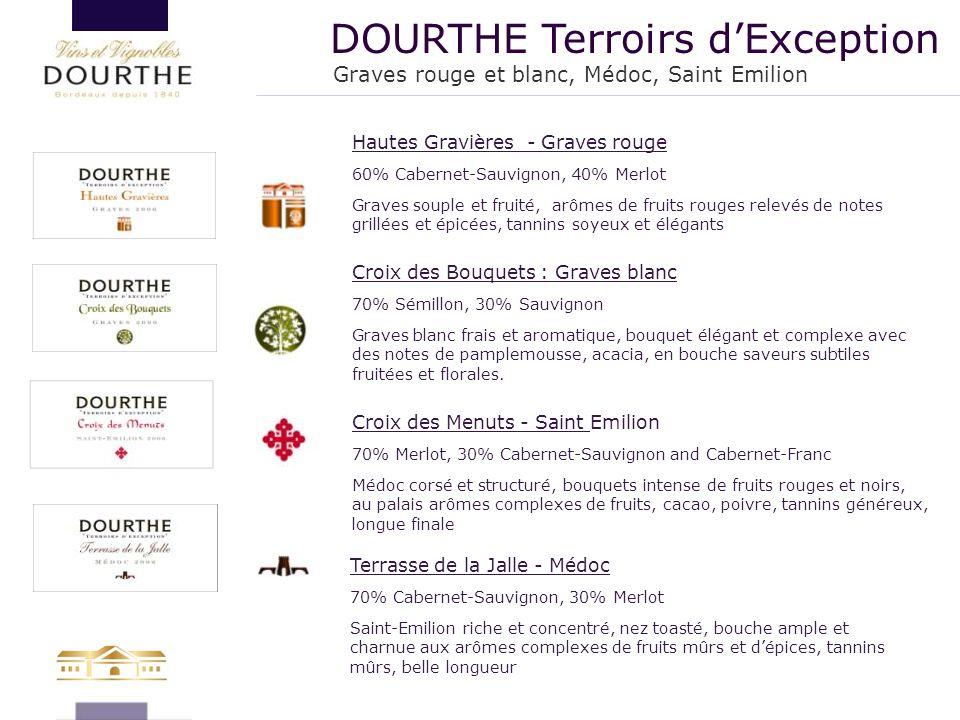 DOURTHE Terroirs d'Exception Croix des Bouquets : Graves blanc 70% Sémillon, 30% Sauvignon Graves blanc frais et aromatique, bouquet élégant et comple