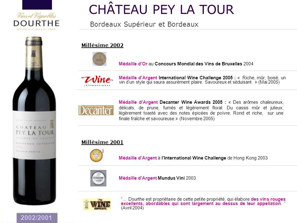 2002/2001 Millésime 2002 Médaille d'Argent International Wine Challenge 2005 : « Riche, mûr, boisé, un vin d'un style qui saura assurément plaire. Sav