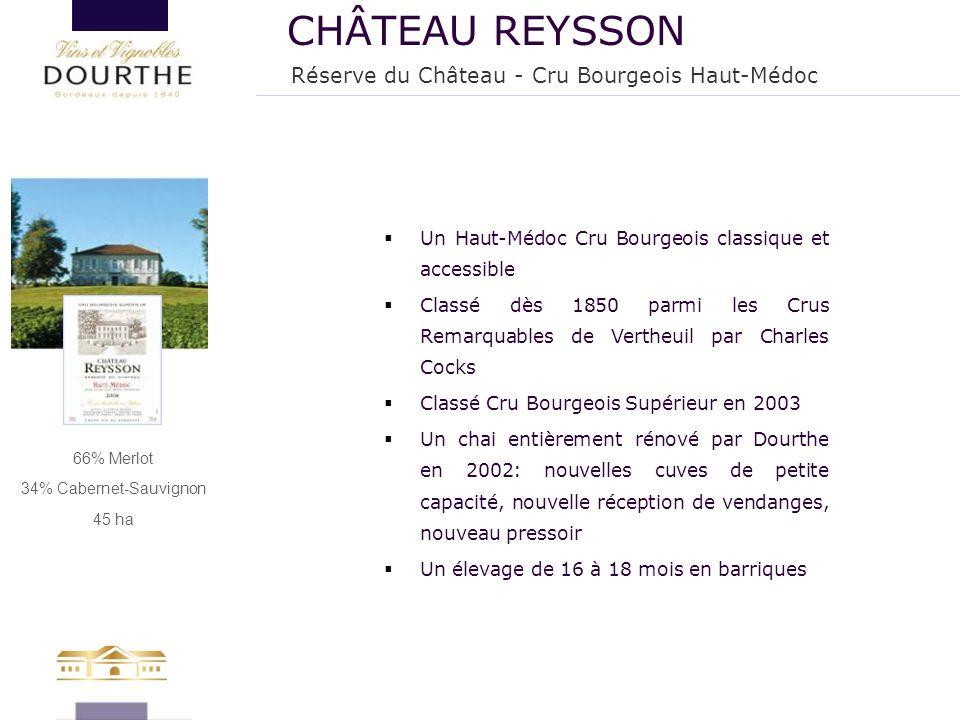 66% Merlot 34% Cabernet-Sauvignon 45 ha  Un Haut-Médoc Cru Bourgeois classique et accessible  Classé dès 1850 parmi les Crus Remarquables de Vertheu
