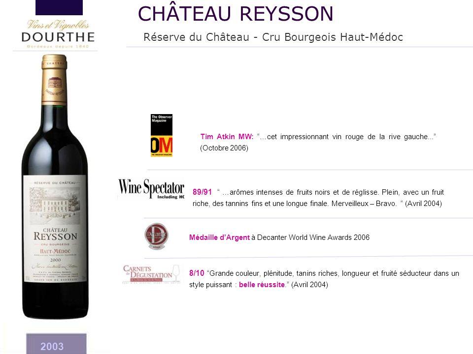 """2003 Médaille d'Argent à Decanter World Wine Awards 2006 8/10 """"Grande couleur, plénitude, tanins riches, longueur et fruité séducteur dans un style pu"""