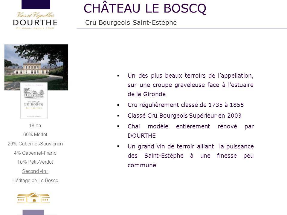 18 ha 60% Merlot 26% Cabernet-Sauvignon 4% Cabernet-Franc 10% Petit-Verdot Second vin : Héritage de Le Boscq  Un des plus beaux terroirs de l'appella