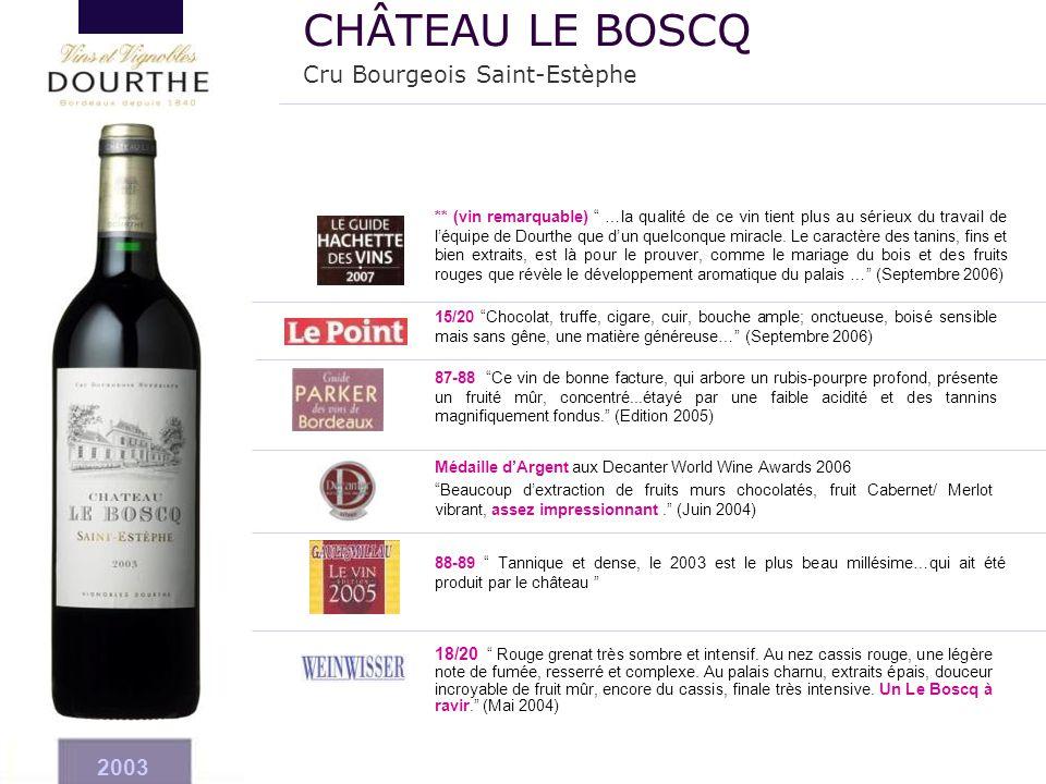 """2003 Médaille d'Argent aux Decanter World Wine Awards 2006 """"Beaucoup d'extraction de fruits murs chocolatés, fruit Cabernet/ Merlot vibrant, assez imp"""