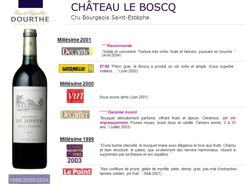 """1999/2000/2001 Millésime 2000 ***** Decanter Award """"Bouquet délicatement parfumé, offrant fruits et épices. Généreux. Un vin impressionnant. Prunes mu"""