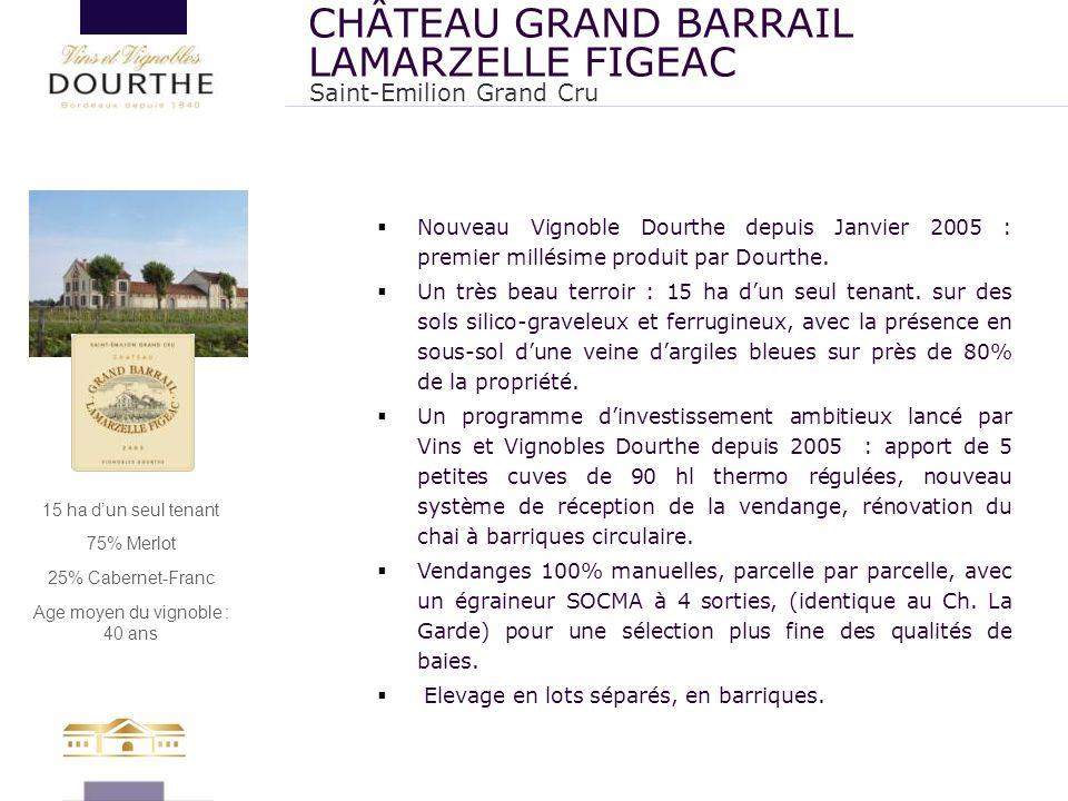  Nouveau Vignoble Dourthe depuis Janvier 2005 : premier millésime produit par Dourthe.  Un très beau terroir : 15 ha d'un seul tenant. sur des sols