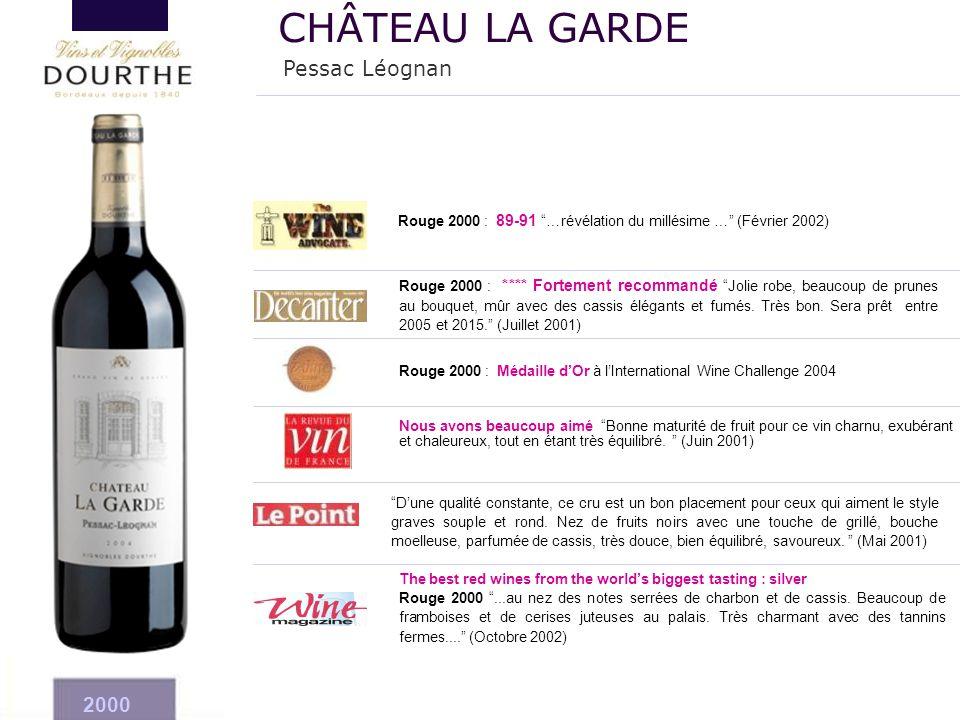 """The best red wines from the world's biggest tasting : silver Rouge 2000 """"...au nez des notes serrées de charbon et de cassis. Beaucoup de framboises e"""