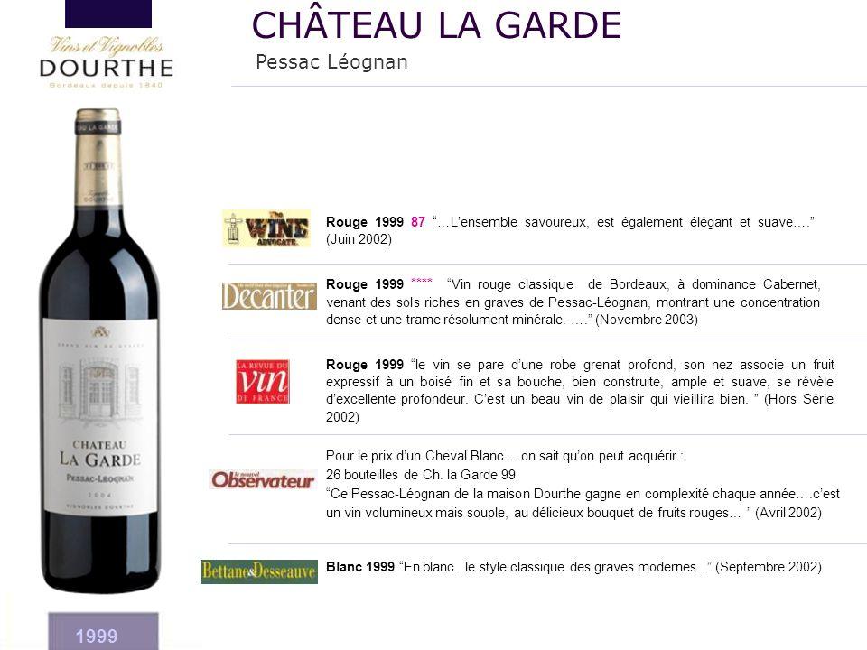 """Rouge 1999 **** """"Vin rouge classique de Bordeaux, à dominance Cabernet, venant des sols riches en graves de Pessac-Léognan, montrant une concentration"""