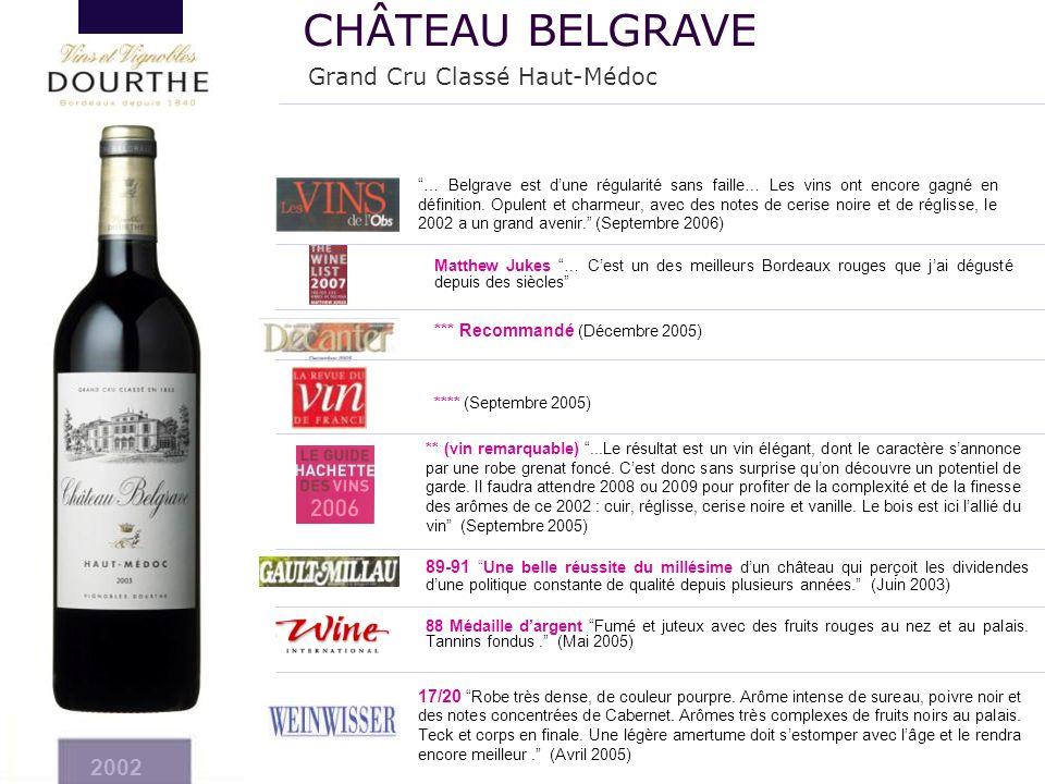 """*** Recommandé (Décembre 2005) **** (Septembre 2005) ** (vin remarquable) """"...Le résultat est un vin élégant, dont le caractère s'annonce par une robe"""