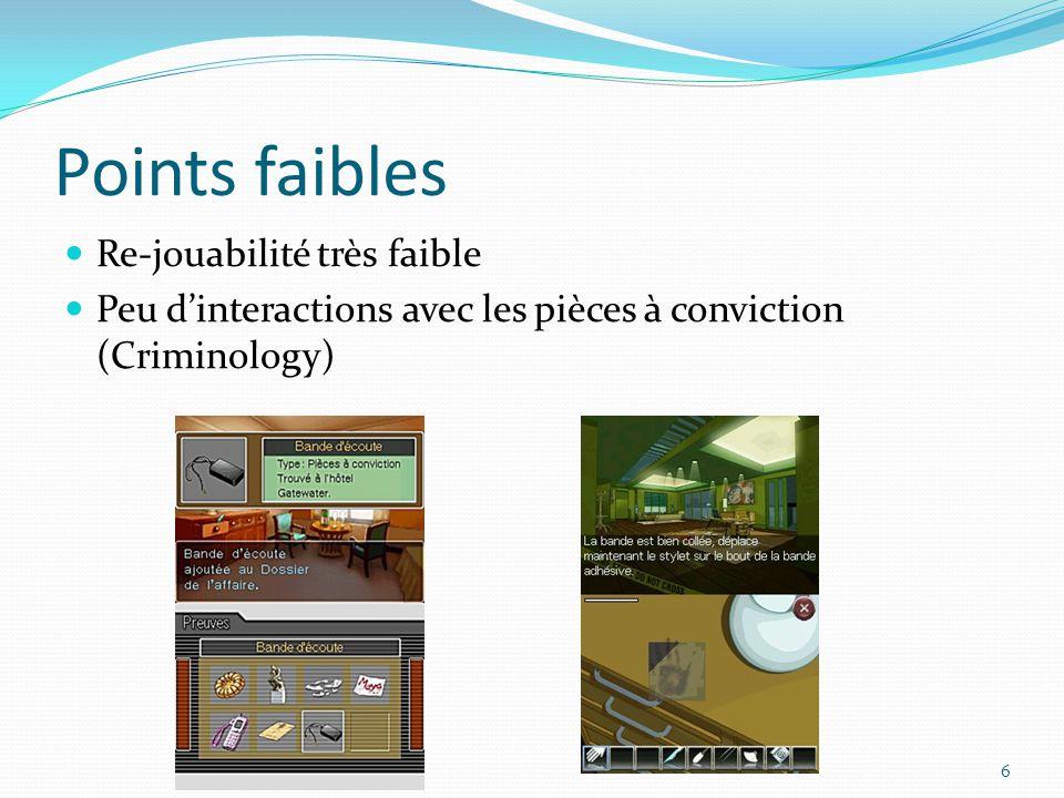 Points faibles Re-jouabilité très faible Peu d'interactions avec les pièces à conviction (Criminology) 6